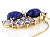 Lapis Lazuli 18k Yellow Gold Over Sterling Silver Pendant With Chain 2.44ctw