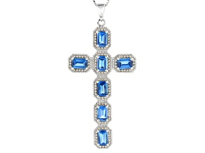 Blue Lab Spinel Rhodium Over Silver Cross Pendant With Chain 3.40ctw