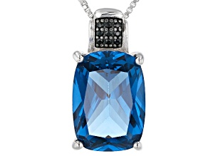 Blue lab created spinel rhodium over sterling silver pendant with chain 5.79ctw