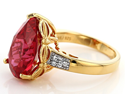 Orange Lab Created Padparadscha Sapphire 18k yellow gold over silver ring 7.74ctw
