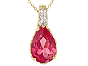 Orange Lab Created Padparadscha Sapphire 18k Gold Over Sterling Silver Pendant With Chain 7.65ctw