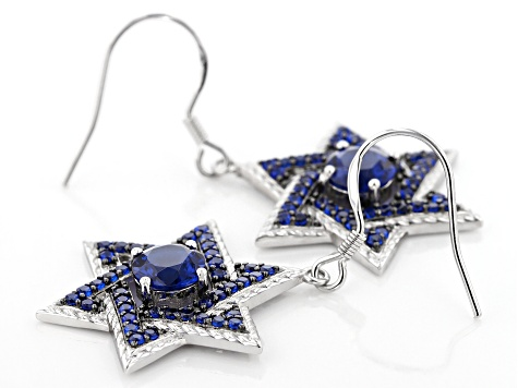 Blue lab created spinel rhodium over silver earrings 2.42ctw