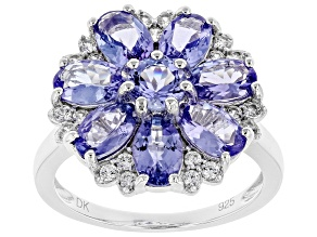 Blue tanzanite rhodium over silver ring 3.42ctw