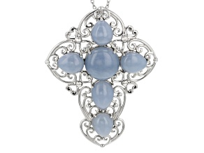 Blue Angelite Rhodium Over Sterling Silver Cross Pendant With Chain