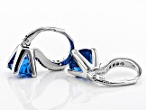 Lab created blue spinel rhodium over sterling silver earrings 3.97ctw