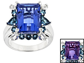 Blue Color Change Fluorite Rhodium Over Sterling Silver Ring 9.71ctw