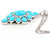 Blue Sleeping Beauty turquoise rhodium over silver pendant with chain