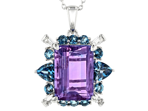 Color Change Fluorite Rhodium Over Sterling Silver Pendant With Chain 8.42ctw