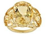Yellow citrine 18k gold over silver ring 13.08ctw