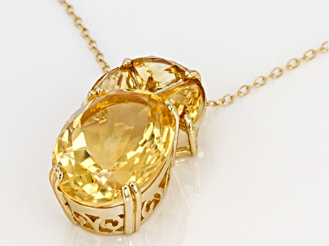 Yellow citrine 18k gold over silver pendant with chain 11.42ctw