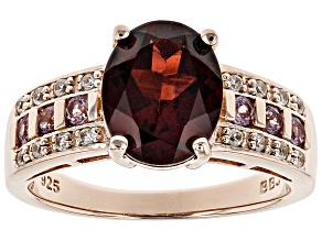 Red Garnet 18k Rose Gold Over Silver Ring 2.71ctw