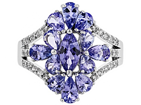 Blue tanzanite rhodium over silver ring 2.29ctw