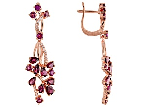 Raspberry color rhodolite rose gold over silver earrings 5.56ctw