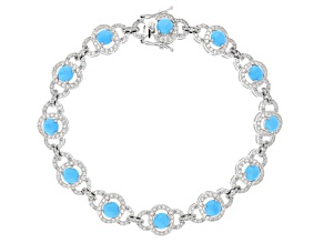 Blue turquoise rhodium over silver bracelet 2.90ctw
