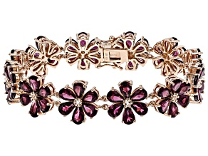 Purple rasberry color rhodolite 18k rose gold over silver bracelet 37.44ctw