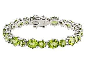 Green peridot rhodium over silver bracelet 21.93ctw