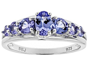 Tanzanite Rhodium Over Sterling Silver Ring 1.18ctw