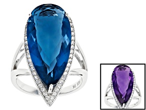Blue color change fluorite rhodium over silver ring 14.86ctw