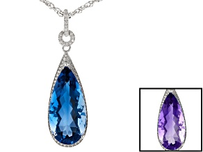 Blue color change fluorite rhodium over silver pendant with chain 15.09ctw