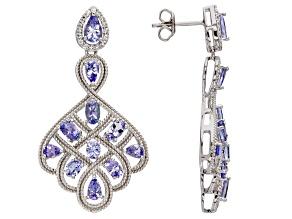 Blue tanzanite rhodium over silver earrings 4.07ctw