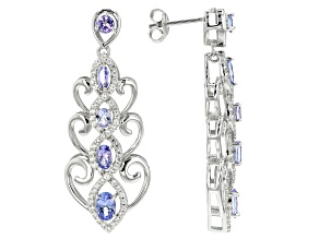 Blue tanzanite rhodium over silver earrings 3.33ctw