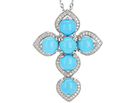Blue turquoise rhodium over silver pendant with chain .72ctw