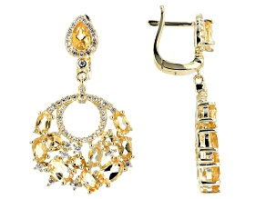 Yellow citrine 18k gold over silver earrings 5.66ctw
