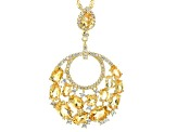 Yellow citrine 18k gold over silver pendant with chain 5.37ctw