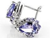 Blue tanzanite rhodium over silver earrings 1.69ctw