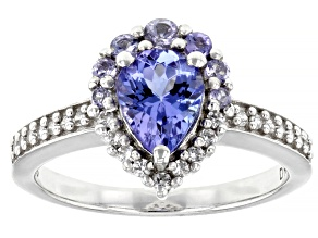 Blue tanzanite rhodium over silver ring 1.35ctw