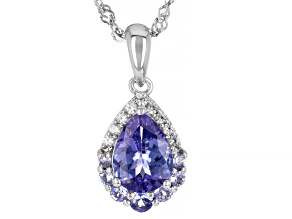 Blue tanzanite rhodium over silver pendant with chain 1.24ctw
