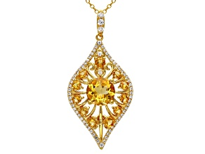 Yellow citrine 18k gold over silver pendant with chain 2.71ctw
