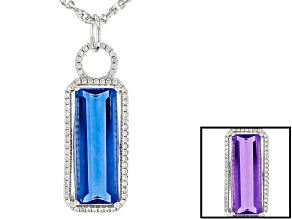 Blue color change fluorite rhodium over silver pendant with chain 8.76ctw