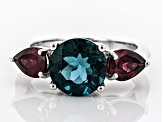 Teal fluorite rhodium over silver ring 4.61ctw