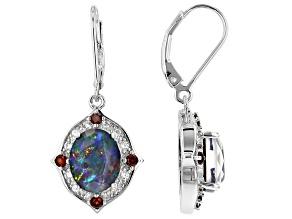 Multicolor Australian Opal Triplet rhodium over silver earrings .62ctw