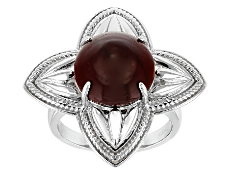 Brown mookaite sterling silver ring