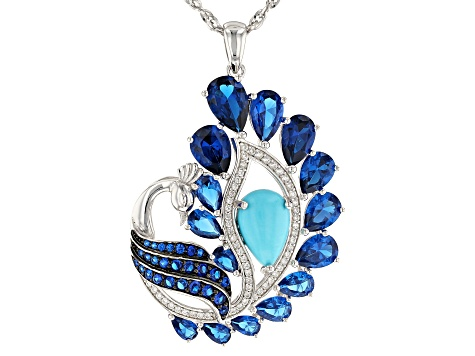 Blue turquoise rhodium over silver pendant with chain 8.89ctw