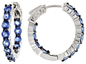 Blue kyanite rhodium over  silver inside/outside hoop earrings 4.75ctw