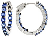 Blue kyanite rhodium over  silver inside/outside hoop earrings 4.75ctw
