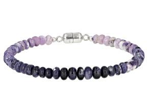 Purple Opal Rhodium Over Sterling Silver Bracelet