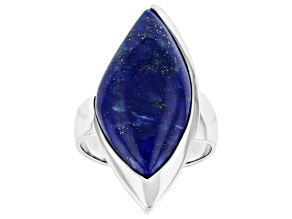 Blue Lapis lazuli rhodium over sterling silver ring