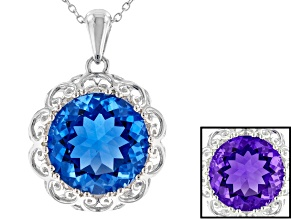 Blue Color Change Fluorite Rhodium Over Sterling Silver Pendant With Chain 12.75ct