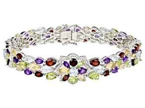Multi-gemstone rhodium over silver bracelet 20.97ctw