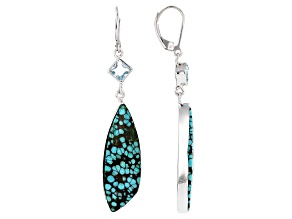 Blue Turquoise Rhodium Over Silver Earrings 1.70ctw