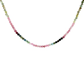 Multi Tourmaline Rhodium Over Sterling Silver Bead Necklace 22.00ctw