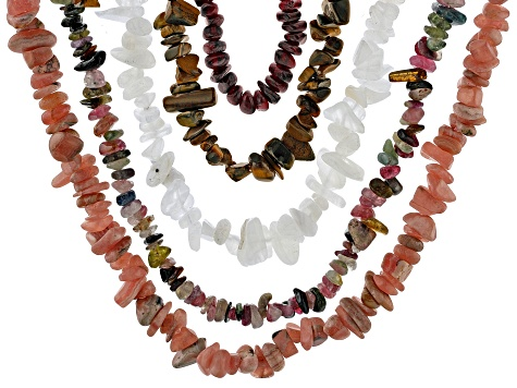 Multi-color assorted gemstone nugget necklace set of 10