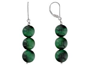 Green tiger's eye sterling silver earrings