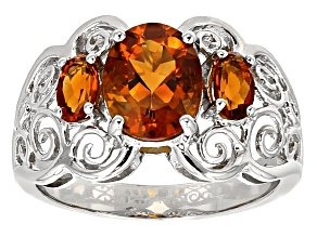 Orange Madeira Citrine Sterling Silver Ring 1.53ctw