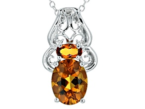 Orange Madeira Citrine Sterling Silver Pendant With Chain 1.36ctw