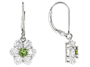 Green Demantoid Garnet Sterling Silver Earrings 3.08ctw